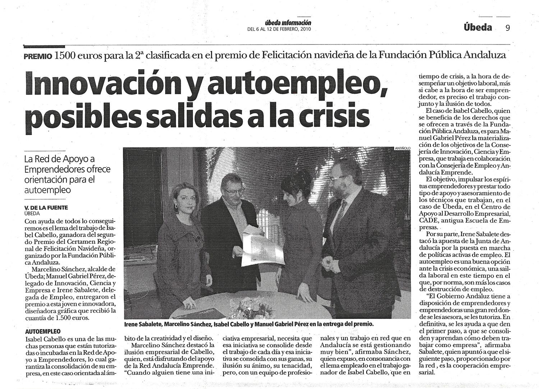 La Junta de Andalucía premia y elogia el espíritu emprendedor de Isabel Cabello