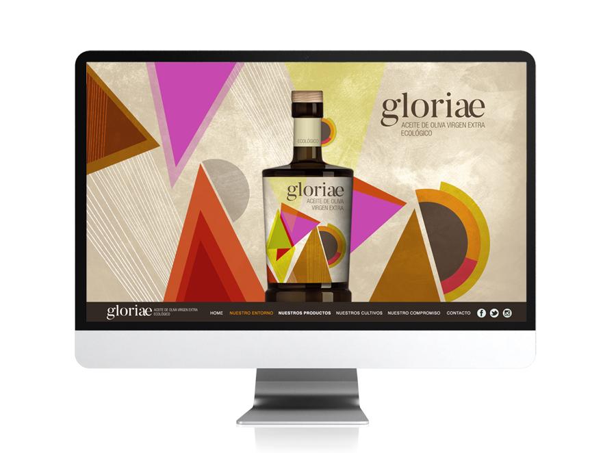 Diseño web para Gloriae, aceite de oliva virgen extra.